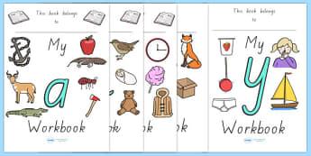 My Alphabet Workbook Pack - english, literacy, activities, letter, formation, home, school, australia