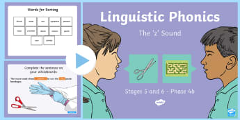 Northern Ireland Linguistic Phonics Stage 5 and 6, Phase 4b 'z' PowerPoint  - NI, sound search, word sort, investigation