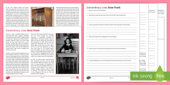 Extraordinary Lives: Anne Frank Differentiated Reading Comprehension Activity  - Comprehensions KS3/4 English, comprehension, reading comprehension, KS 3 reading, EOL, ESL, vocabula