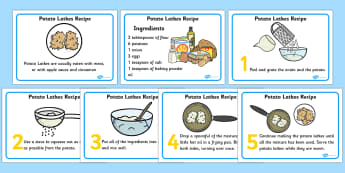 Potato Latkes Recipes Cards - potato latkes, latkes, recipe, card