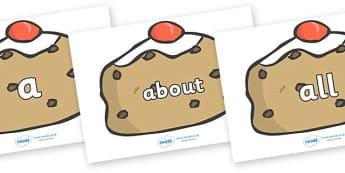 100 High Frequency Words on Buns - High frequency words, hfw, DfES Letters and Sounds, Letters and Sounds, display words