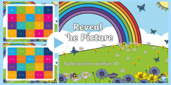 Subtraction within 10 Reveal the Picture PowerPoint - CfE Numeracy and Mathematics, number, number processes, revision, recap, takeaway, subtract, subtrac