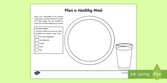 Plan a Healthy Meal Activity Sheet - CfE Healthy Eating Week 12th June. Eatwell Guide, healthy eating, balanced diet, food,Scottish, work