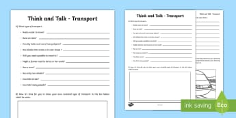 Think and Talk Transport Activity Sheet-Irish - Oral Language Activity Sheets, talk and discussion,listening skills,talk about the picture,transport