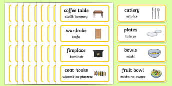 Home Corner Role Play Labels English/Polish - Home Corner Role Play Labels - home corner, role-play, labels, lebels, homecorner, labeles, roleplay