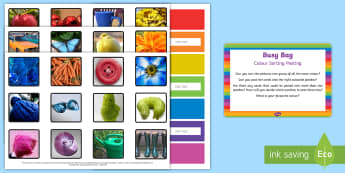 Colour Sorting Posting Busy Bag Prompt Card and Resource Pack - EYFS Sorting, mathematics, shape space measure, beginning to categorise objects according to propert