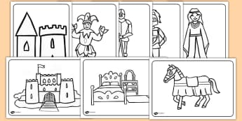 Castles and Knights Colouring Sheets - Knights, Castles, colouring, fine motor skills, poster, worksheet, Castles and Knights, maiden, castle, tower, dragon, sword, horse, flag, shield, dungeon