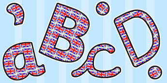 Union Jack Themed Size Editable Display Lettering - display