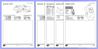 Budget at Home Money Problems Activity Sheet Pack GCSE Grades 1-3 - KS3, KS4, GCSE, Maths, Finance, Budget, Home, worksheet