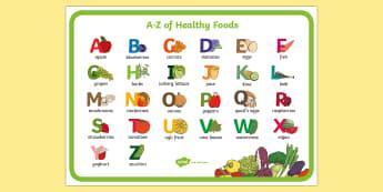 A-Z of Healthy Eating Display Poster - healthy food, healthy eating, vegetables, diet, health
