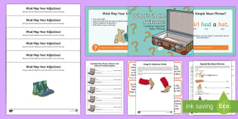 Expanded Noun Phrases: What's in the Suitcase? Resource Pack - adjective, expanded noun phrase, grammar, SPaG, GPS, vocabulary, noun phrase, list sentence, comma,