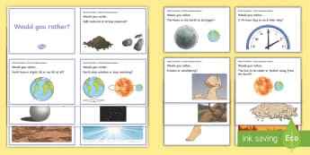Australia - Would You Rather...? Earth and Space Sciences Years 3-4 Question Cards - ACSSU048, earth rotation, day and night, ACSSU075, landforms, earth's crust, erosion, would you rat