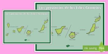 Póster DIN A2: Las provincias de las Islas Canarias - Mapas, provinicias, mapas mudos, mapas en blanco, las ciudades de españa, comarcas, concejos, comun