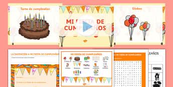 Pack de recursos - los cumpleaños - fiesta, vocabulario, cumplir, celebrar