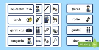 Garda Display Cards - garda, police force, ireland, republic of ireland, role play, police station, garda station, detective, role play area, display cards, display, cards, word cards