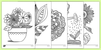 Plants and Growth Themed Mindfulness Colouring Sheets - plants and growth, mindfulness, colouring sheets, colour, sheet