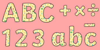 Number Themed Display Lettering - Maths Learning Wall - Display Lettering - Maths Area Primary Resources, maths is fun, signs, labels,