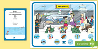 Airport Can You Find...? Poster and Prompt Card Pack - Transport and Travel, vehicles, planes, transport, holiday, airport, runway, holidays, air, pilot