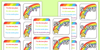 Place Value Matching Game Decimal Numbers - place value, matching game, matching, game, match