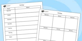 Birthday Calendar Sheets- birthday, class birthdays, calendar, birthday sheets, calendar sheets, months, years, class management