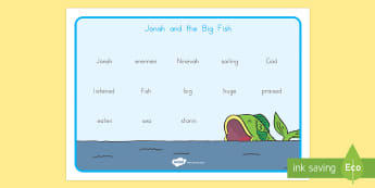 Jonah and the Big Fish Word Mat - bible stories, bible vocabulary, Judaism