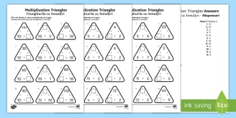 Multiplication Triangles  2 to 12 Times Tables Activity Sheet English/Romanian - worksheet, Multiplication Triangles Activity Sheet 2 to 12 Times Tables - multiplication triangles,