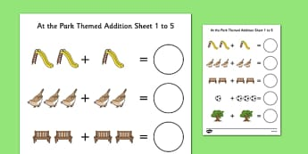At the Park Themed Addition Sheet 1-5 - at the part, themed, addition, sheet, 1-5