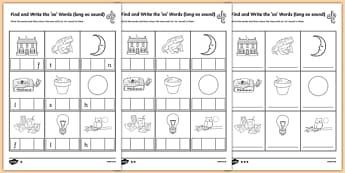 Find and Write the Long oo Sound Words Differentiated Activity Sheet Pack, worksheet