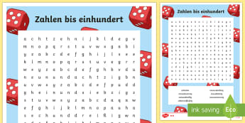 Numbers 10 to 100 Mixed Numbers Word Search German - Numbers, Counting, German, mfl, maths, numeracy, modern foreign language, ks1, ks2, ,German