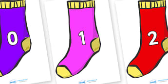Numbers 0-50 on Socks - 0-50, foundation stage numeracy, Number recognition, Number flashcards, counting, number frieze, Display numbers, number posters