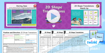 PlanIt Y4 Position and Direction Lesson Pack Translations (3) - Y4 Position and Direction. coordinates, 2D shapes, translations, translation, Describe movements bet