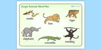 Jungle Animal Themed Word Mat - walking through the jungle, animals, story, book, word mat, writing aid, mat, jungle, animal, lion, tiger, elephant, snake monkey, crocodile