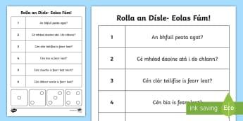 Rolla an Dísle Eolas Fúm! Activity Sheet-Irish - ROI Back to School Resources,Irish, worksheet