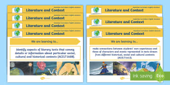 Literature Content Descriptions Literature and Context Display Posters - Australian Curriculum English Content Descriptions Display Posters, Content Descriptors, Literature