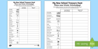 My New School Treasure Hunt Activity Sheet English/German - new school, first day of school, EAL, German, English-German,,German-translation