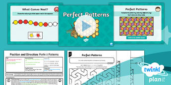 PlanIt Y2 Position and Direction Lesson Pack Pattern and Sequence (1) - Geometry, Pattern, continue, sequence, shape, repeat, turn, rotate, position, rule, Order and arrang