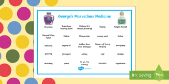 Word Mat to Support Teaching on George's Marvellous Medicine - George's Marvellous Medicine, vocabulary, writing, Roald Dahl, word mat, key words. spelling