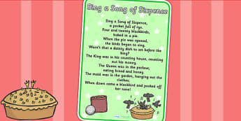 Sing a Song of Sixpence Nursery Rhyme Poster - rhymes, display