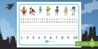 Superhero Desk Placemats to 10 Desk Mat - Superhero Desk Placemats to 10 - writing, aids, numbers, letters, alphabet, desk, , numbes, aplhabet