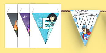 Welcome to Our Class Bunting Superhero Themed - welcome, bunting