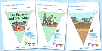 The Farmer and His Sons Bunting - bunting, story book, display