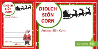 Ffrâm Ysgrifennu Llythyr Diolch i Siôn Corn - nadolig, blwyddyn newydd, diolch, sion corn, llythyr, Welsh