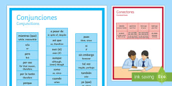 Spanish Conjunctions and Connectives Display Poster Spanish Translation - spanish, conjunctions, connectives, display, posters