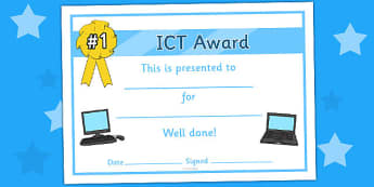 General ICT Certificate - General ICT Certificate, certificate, award, certificates, reward, ICT, information and communications technology, computer, laptop, monitor, keyboard, mouse, pointer, arrows, backspace, enter, control, Caps Lock