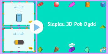 Pŵerbwynt Siapiau 3D Pob Dydd - Siâp 2D, defnyddio sgiliau geometreg, Siâp, siap, Siap, enwau siapiau 2D, cylch, Cylch, Sgwar, sgw