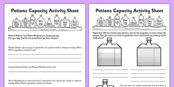 Potions Capacity Activity Sheet - potions, capacity, activity, sheets, worksheet