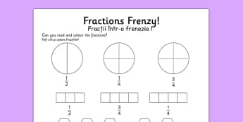 Fractions Frenzy Read and Colour Activity Sheet Romanian Translation - romanian, fractions, frenzy, read and colour, activity, worksheet