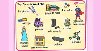 Toys KS1 Word mat Spanish - spanish, word mat, toys, languages