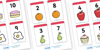 Number Bonds to 10 Matching Cards (Food) - education, home school, child development, children activities, free, kids, math games, worksheets, number work