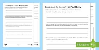 Launching the Currach Art Appreciation Activity Sheet - Irish Art Resources, art strands, display resources, art appreciation, activity sheet, worksheet, ar